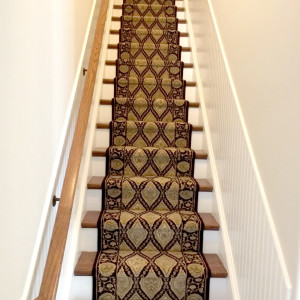Staircase with Patterned Carpeting in Custom Home NJ